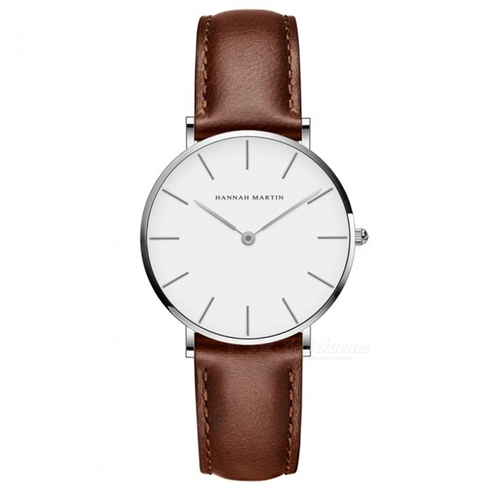 Hannah Martin 3690-CB36 Women's Ultra-thin Quartz Analog Waterproof Student Wrist Watch w/ PU Leather Strap - Brown + Silver