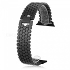 Scale-Pattern-Stainless-Steel-Watch-Strap-for-Apple-iWatch-38mm-Black