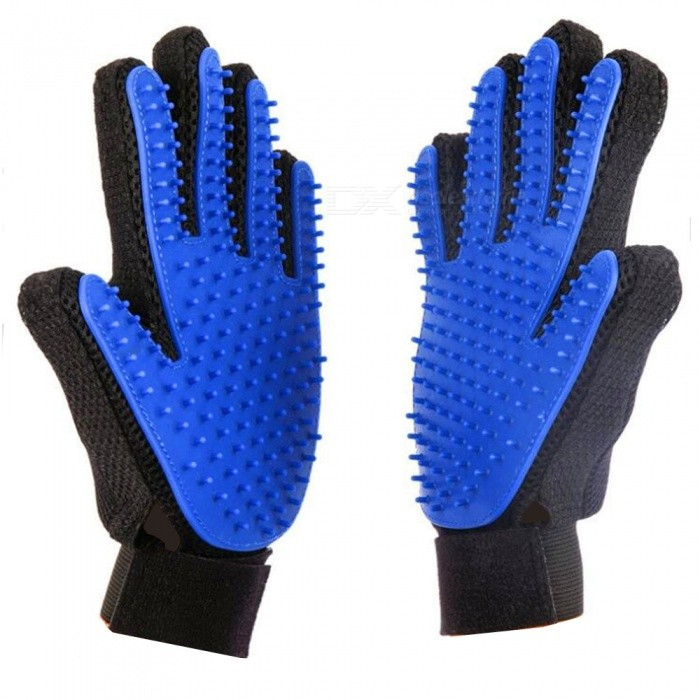 Buy Silicone Pet Float Hair Removing Massage Gloves - Blue + Black (Pair) with Litecoins with Free Shipping on Gipsybee.com