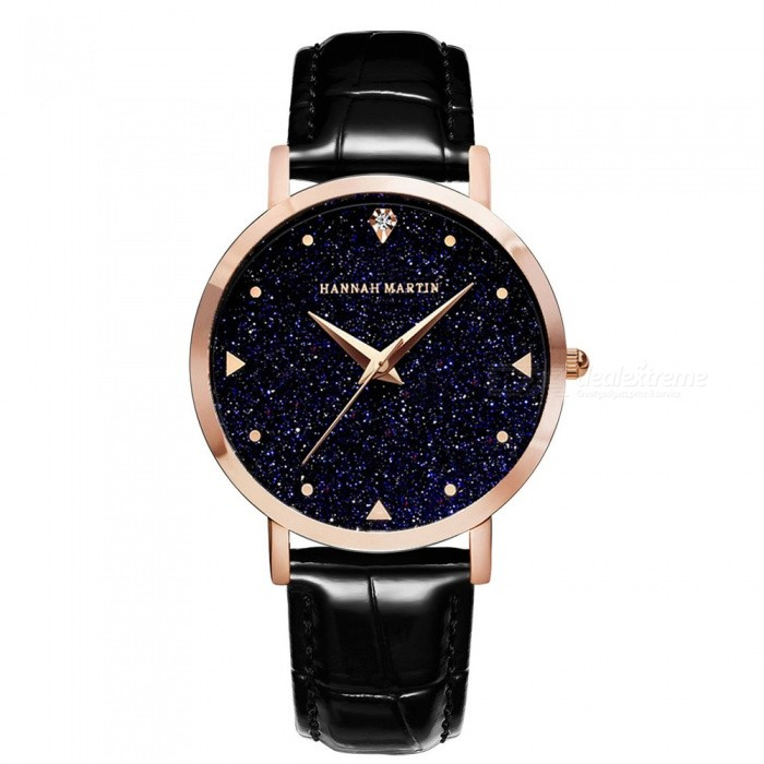 Hannah Martin XYZJW Women's Quartz Wrist Watch w/ Diamond Shaped Starry Sky Mirror Dial, PU Leather Strap - Black for sale for the best price on Gipsybee.com.