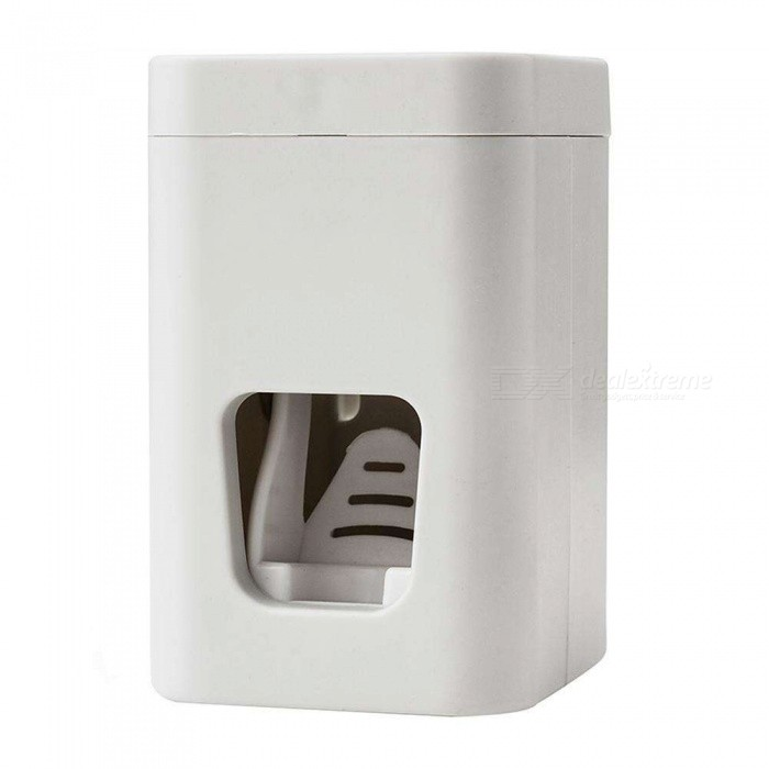 Dx coupon: Automatic Toothpaste Dispenser, Wall Mounted Tooth Brush Holder Squeezer - White