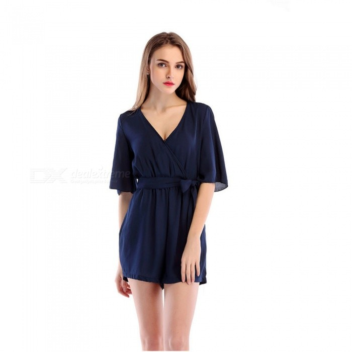 Chiffon Casual V-Neck Belt Jumpsuit for Women - Navy Blue (S) for sale for the best price on Gipsybee.com.
