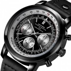 Hannah Martin 2001 Men's Flight Crew Quartz Wrist Watch w/ PU Leather Strap, 3 Decorative Dials, 30m Waterproof - Black