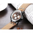 Hannah Martin 2001 Men's Flight Crew Quartz Wrist Watch w/ PU Leather Strap, 3 Decorative Dials, 30m Waterproof - Light Brown