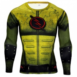 3D-Style-The-Flash-Logo-Quick-Drying-Long-Sleeves-Tight-Fitting-Male-T-shirt-Yellow-(M)