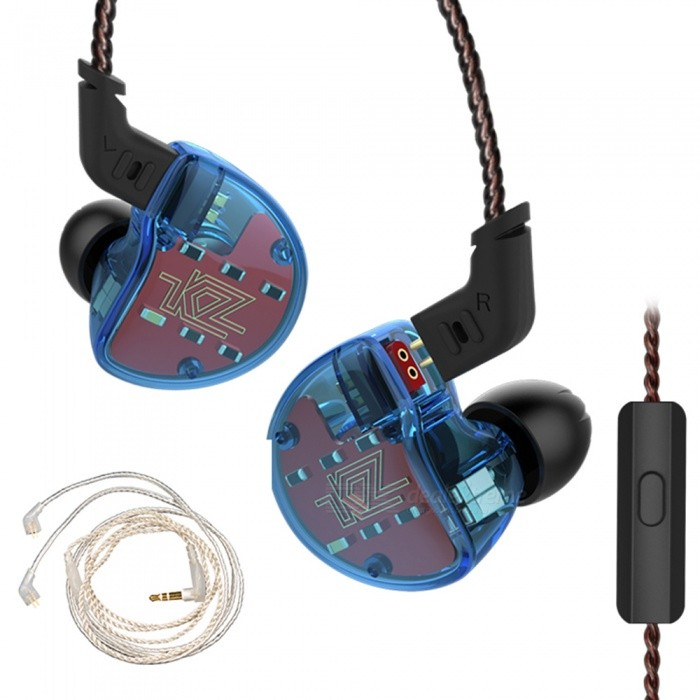 Buy KZ ZS10 4BA with 1 Dynamic Hybrid 10 Drivers In Ear Earphones HIFI Headphones With Silver Cable - Blue (With Microphone) with Litecoins with Free Shipping on Gipsybee.com