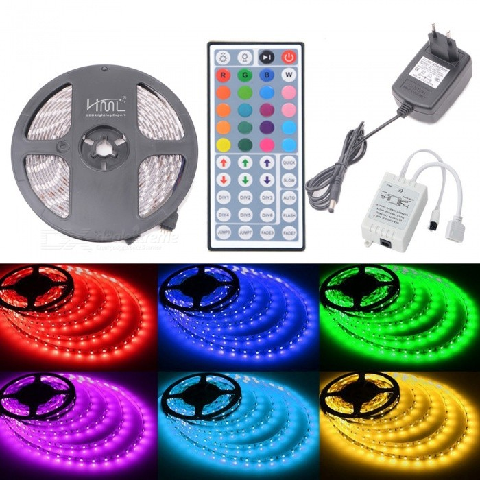 HML IP65 72W 150-5050 RGB LED Strip Light with 44-key IR Remote Controller