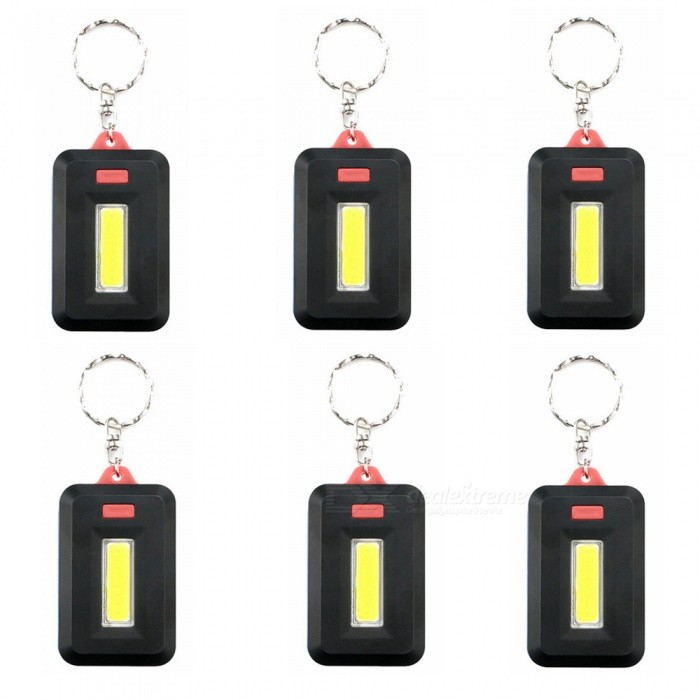 Buy ZHAOYAO 6Pcs Mini COB 3-Mode Key Chain LED Light - Black + Red with Litecoins with Free Shipping on Gipsybee.com