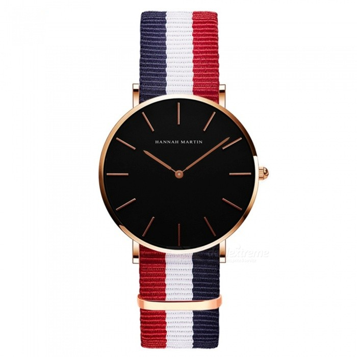 Hannah Martin CH36 Women's Ultra-thin Japanese Movement 30m Waterproof Nylon Strap Wrist Watch - Multicolor