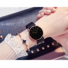 Hannah Martin CH36 Women's Ultra-thin Japanese Movement 30m Waterproof Nylon Strap Wrist Watch - Black + Golden