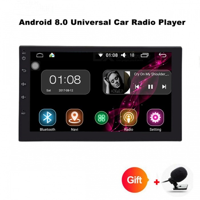"Funrover 2 Double Din Universal Car Radio DVD Player, Stereo HD 7"" Quad-Core Android 8.0 Auto Radio w/ GPS Navigation"