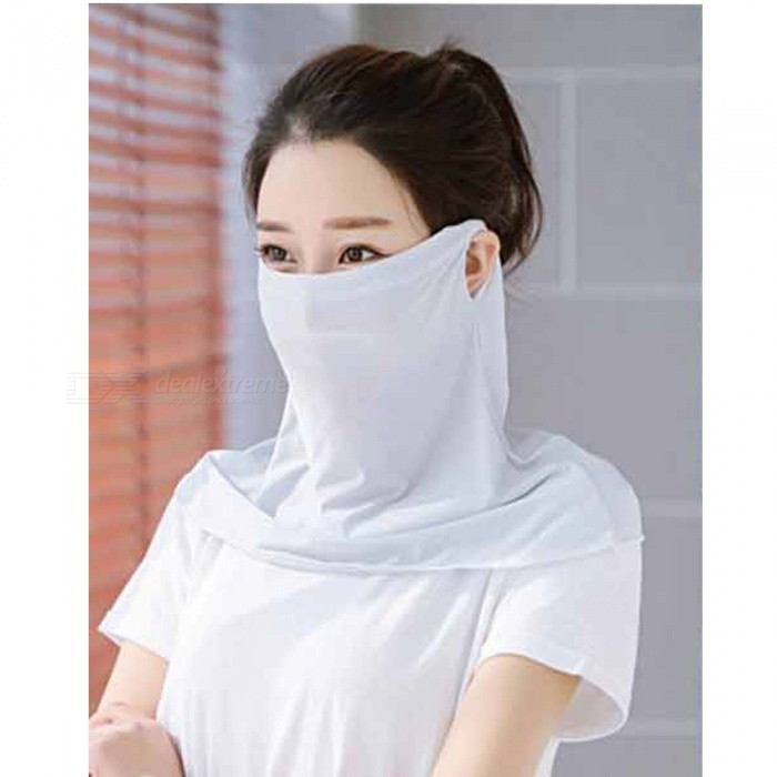 ZHAOYAO Summer Anti-UV Ice Silk Windproof Sun Protection Mask for Men and Women - Light Grey