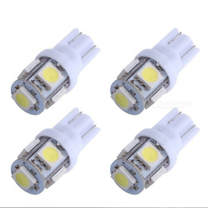CARKING 4Pcs 12V Car Auto Internal T10 White 5050 SMD 5-LED Sidelight Wedge Bulbs
