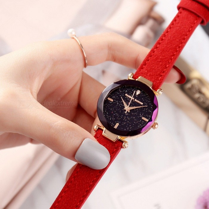 Hannah Martin HM-D1 Women's Quartz Wrist Watch Diamond Shaped Starry Sky Mirror Dial, PU Leather Strap - Red