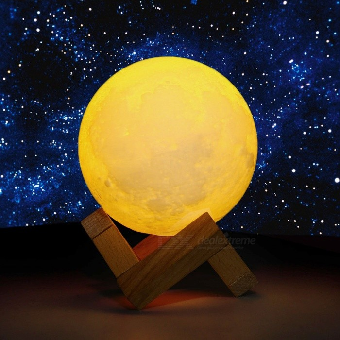 YWXLight 20CM 2W 3D Print Moon Style Rechargeable Night Light Lamp RGB 16 Color Change Touch Switch