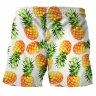 Men's Pineapple Printed Casual Cotton Beach Short Pants Shorts (M)