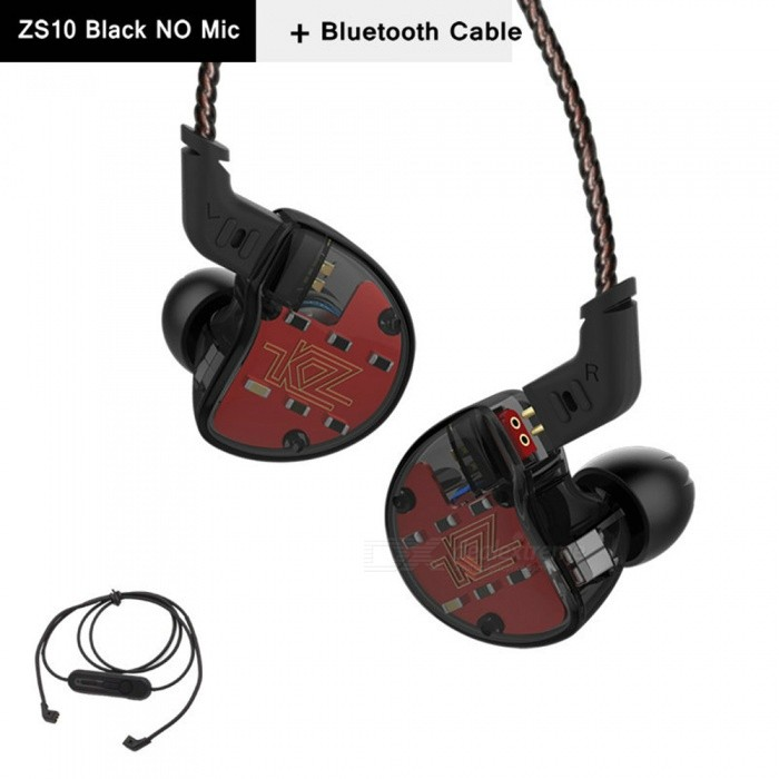 KZ ZS10 3.5mm Wired 5 Drive Unit In-Ear Earphone, HIFI DJ Monito Running Sport Earbuds with Bluetooth Cable