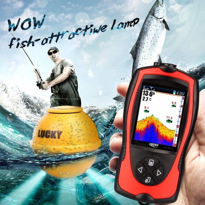 LUCKY FF1108-1CWLA Portable Fish Finder, Depth Sonar Sounder Alarm Waterproof Fishfinder
