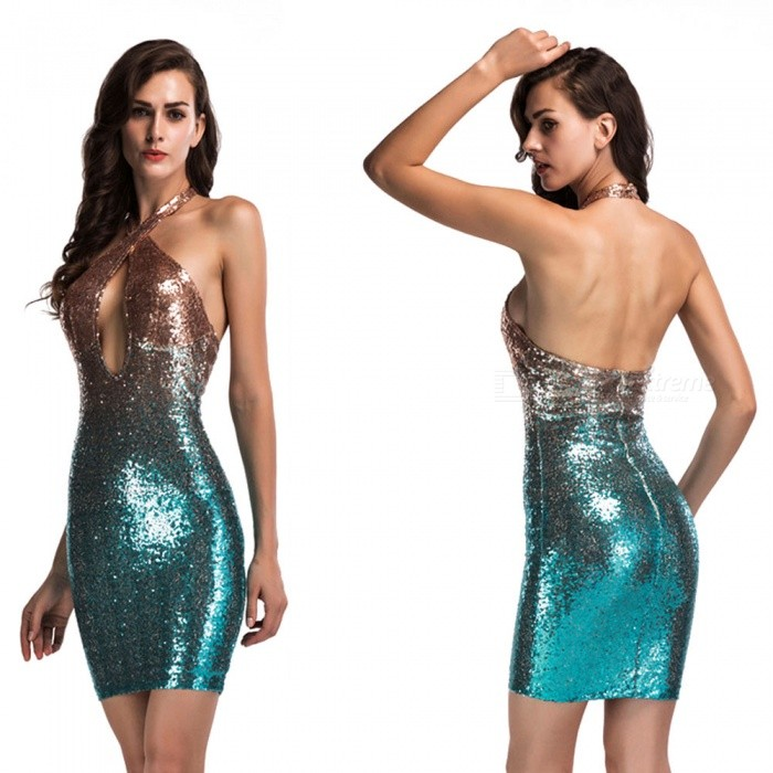 New Sexy Color Sequin Halter Deep V Dress, Night Club Sexy Dress