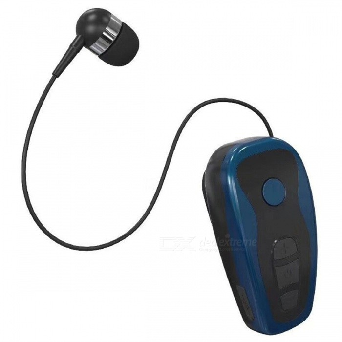 KTR-Q7 Clip-On Collar Type Sports Vibrating Wireless Stereo Bluetooth  Headset w/ Telescopic Cable - Black + Cyan