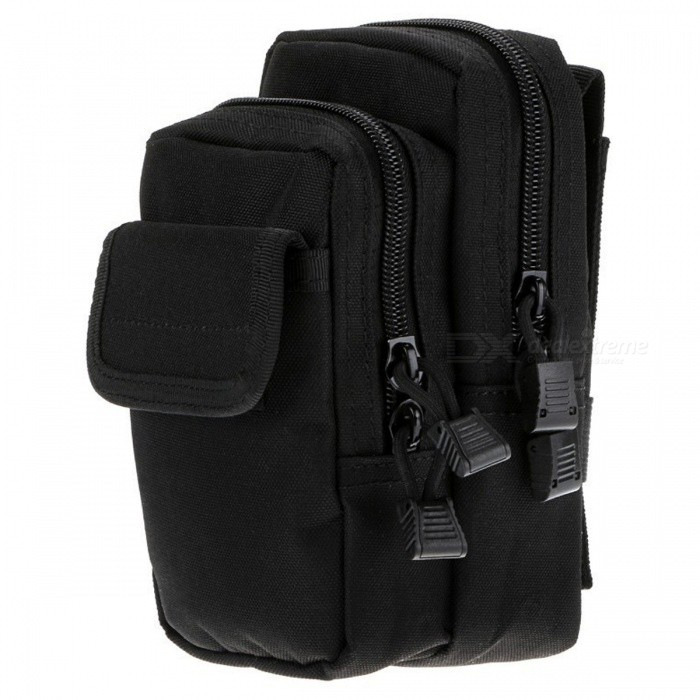 Outdoor Crack-proof Sports Tactical X-2 Waist Bag Molle Accessory Package - Black