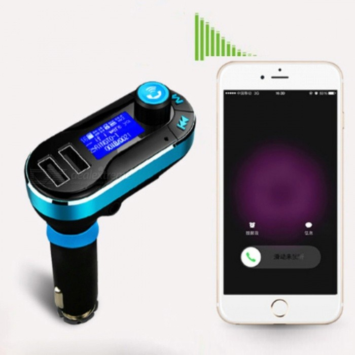 BT66 Bluetooth V2.1 Hands-free Car FM Transmitter with MP3 Player - Black + Silver