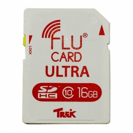 FluCard PRO SD Memory Card w/ Wi-Fi for Camera (16GB / Class 6) - White + Red