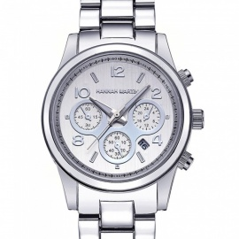 Hannah Martin 1038 Women's Fashion Stainless Steel Strap Quartz Watch with Date Display, 3 Decorative Dials - Silver