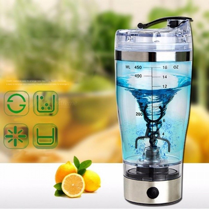 Electric Automatic Protein Shaker Portable Movement Mixing Mixer Vortex Tornado BPA Free Water Bottle Clear/401-500ml