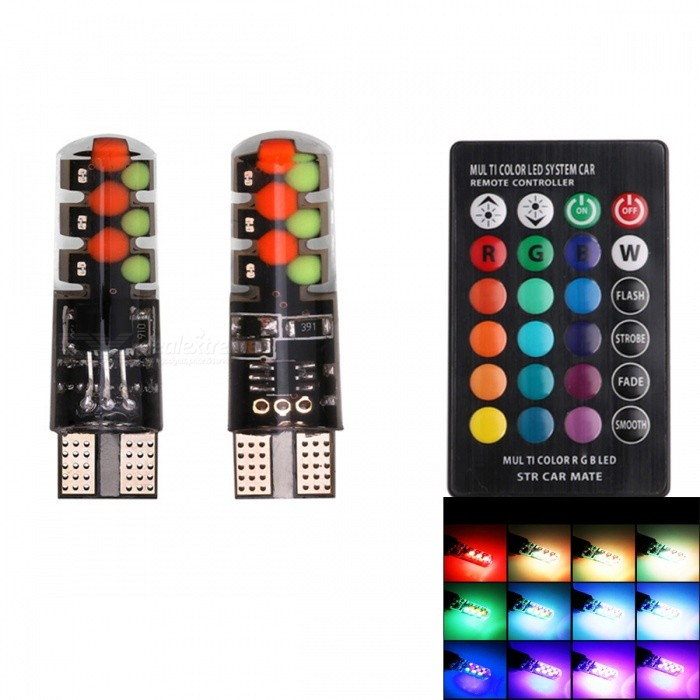 Buy JRLED T10 3W RGB Light COB 9-SMD LED Indicator Lamps (2 PCS) with Litecoins with Free Shipping on Gipsybee.com