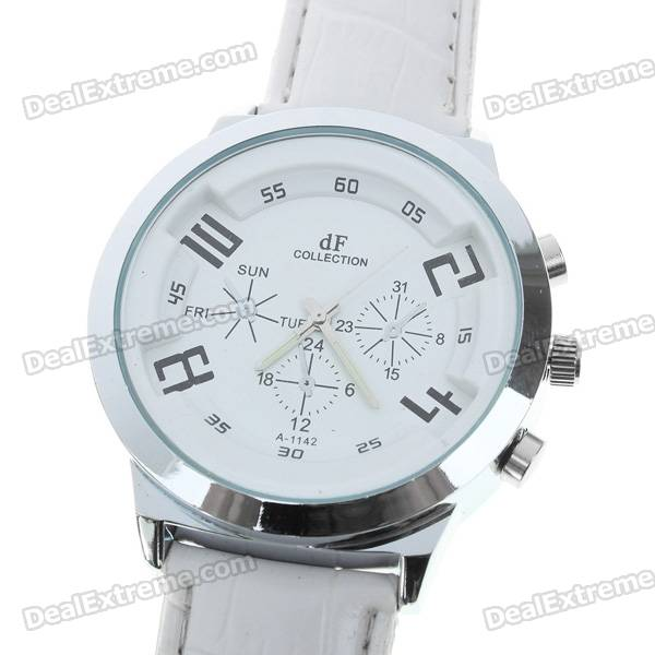Stylish Quartz Wrist Watch with Metal Dial + PU Leather Band - White (1*377)