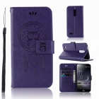 Flip Pattern Full Body Owl Dream Catcher Hard PU Leather Case, Card Holder Wallet with Stand for LG K10 2018 - Purple