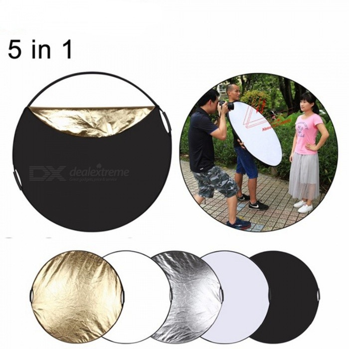 ESAMACT 5-in-1 Collapsible Photo Studio Background Reflector Board Panel, Portable Folding Round Photography Reflector