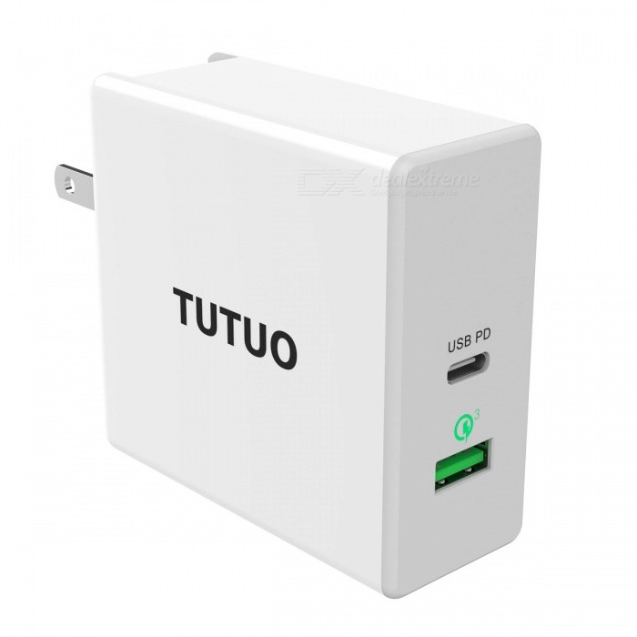 TUTUO 60W USB-C PD (Power Delivery) + Quick Charge 3.0 Fast Wall Charger with UK / EU / US Plug Power Adapter