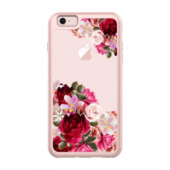 san francisco b19d6 454fd JEDX Flowers Pattern PC + TPU Hybrid Case for IPHONE 6S Plus, 6 Plus - Rose  Gold + Red