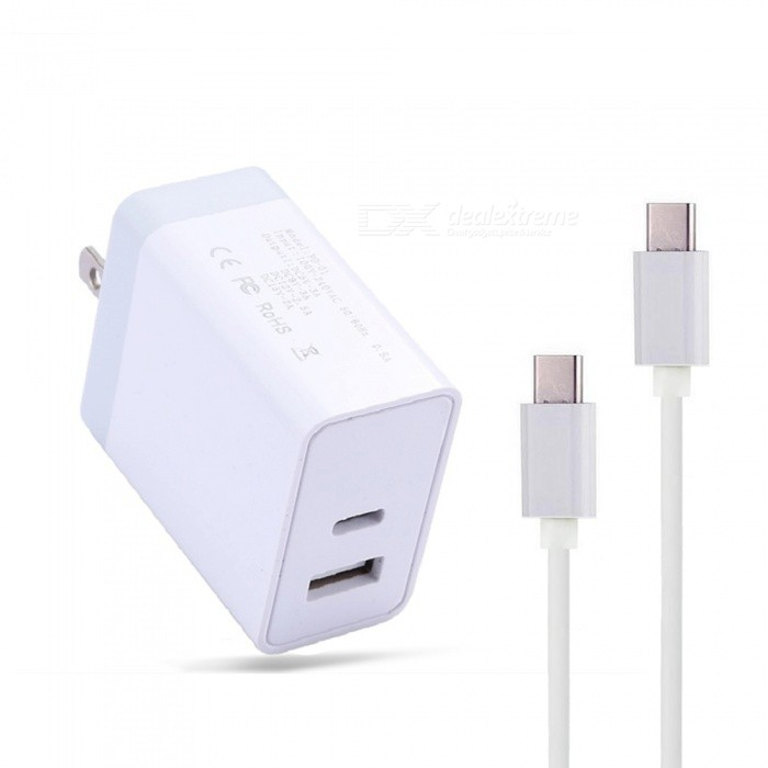 Cwxuan 30W Type-C PD Fast Charger w/ USB 5V Port Power Adapter + 1m Type-C Male Male Charging Data Cable