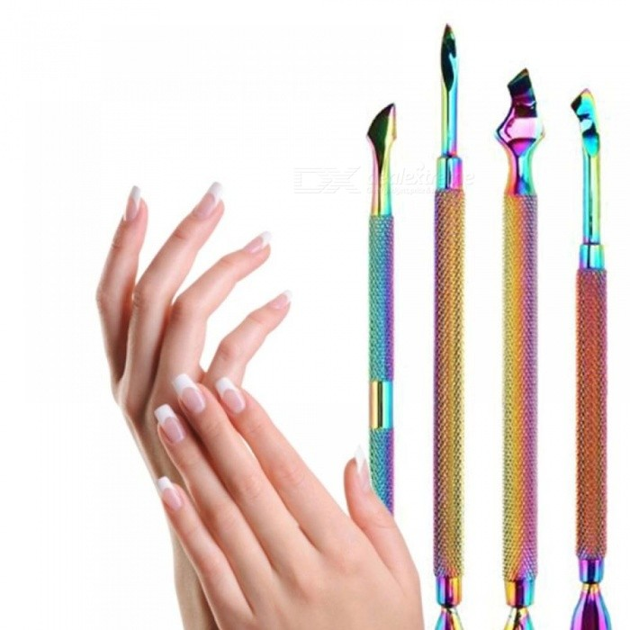Dual-ended Chameleon Nail Cuticle Pusher Remover Rainbow Stainless ...