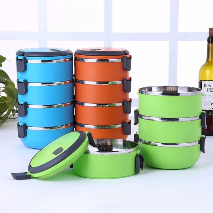 Stainless Steel Insulated Lunch Box Multi-layer Round Student Lunch Box Green/1