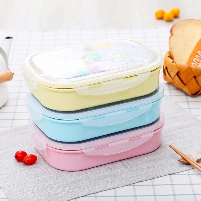 Stainless Steel Lunch Box For School Lunch Bento Containers Rectangle Cartoon 5 Compartments Random Color