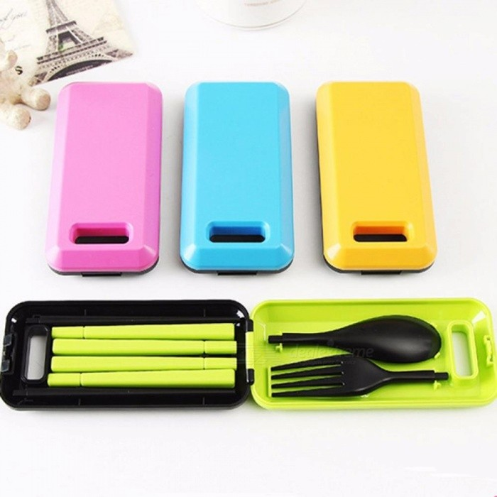 Three-Piece Portable Tableware Sets With Folding Spoon Fork Chopsticks For Bento Lunch Box Kitchen Tools Army Green