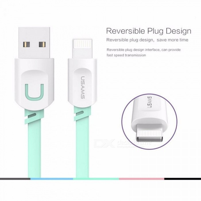 Buy USAMS 2.1A Fast Charging 0.25m 1m 1.5m Flat Usb Charger Cable Lightning Cable For IPhone 8 7 I6 IPhone 6 6s X Cable Grey/1.5m with Litecoins with Free Shipping on Gipsybee.com