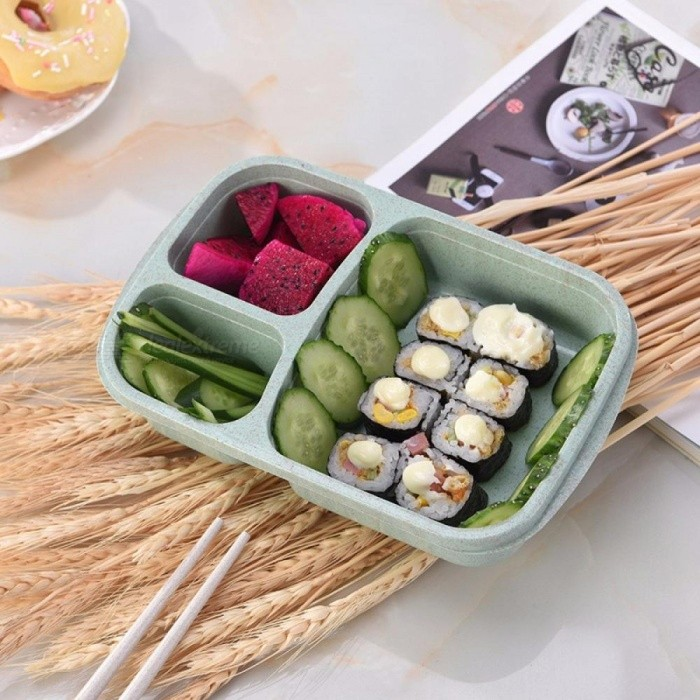 Buy Lunch Box Wheat Straw Microwave Tableware Bento Box Quality Health Natural 3 Grid Student Portable Food Storage Box Pink/3/1 with Litecoins with Free Shipping on Gipsybee.com