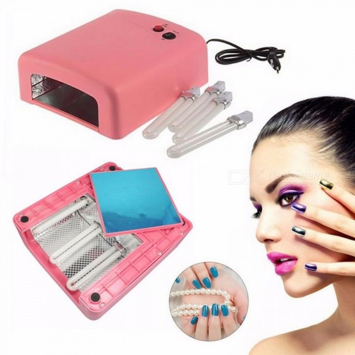36W-UV-Nail-Lamp-Dryer-Portable-Curing-Nail-Tool-For-Gel-Based-Polishes-Manicure-With-Timer-Pink