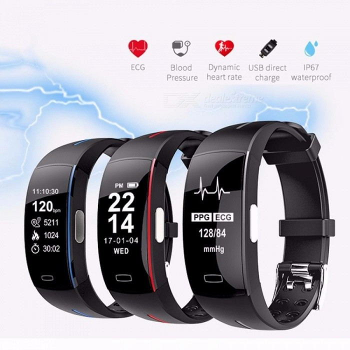 P3 Smart Band Support ECG+PPG Blood Pressure Heart Rate Monitoring IP67 Waterpoof Pedometer Sports Fitness Bracelet