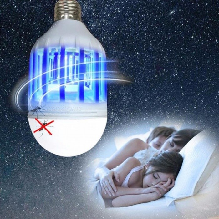 110V 2-Mode E27 LED Mosquito Killer Lamp Bulb Electric Trap Light Electronic Anti Insect Bug Wasp Pest Fly White/Blue