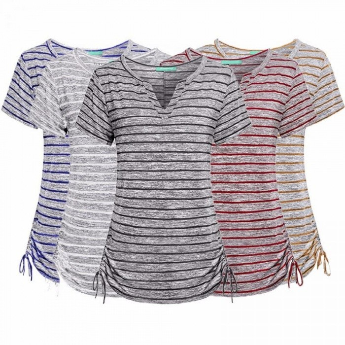 Buy Women Notch V Neck Short Sleeve Loose Fit Drawstring Side Striped Shirts Brown/L with Litecoins with Free Shipping on Gipsybee.com