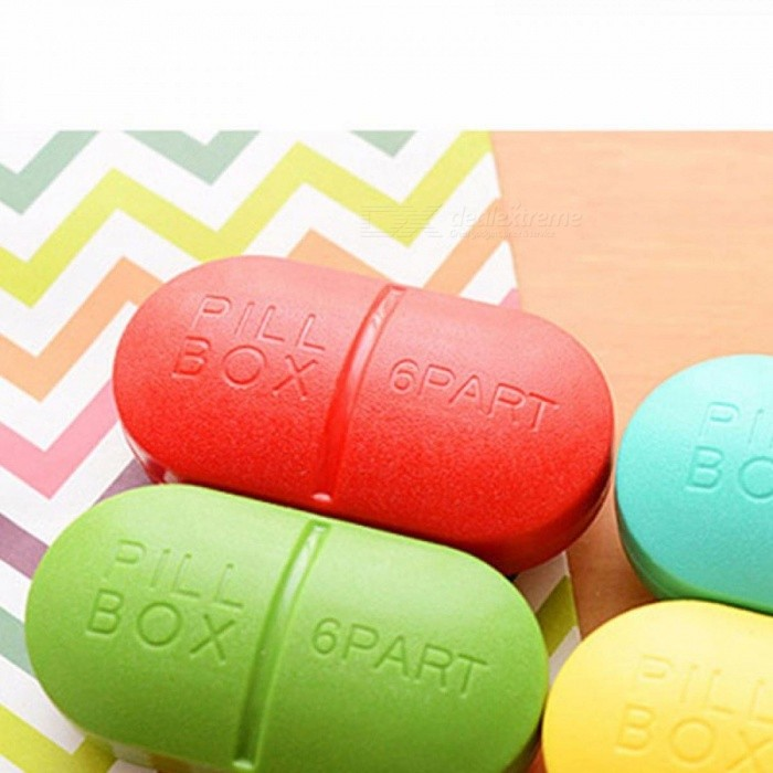 Buy Portable 6 Slots Seal Pill Cases Jewelry Candy Storage Box Vitamin Medicine Pill Box Case Container Red with Litecoins with Free Shipping on Gipsybee.com