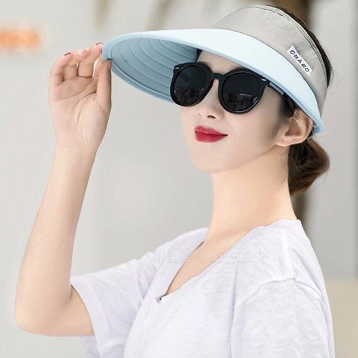 f6f66983a91364 ... New Summer Sun Visor Ladies Outdoor Folding Large UV Protection Top Hat  One Size ...
