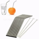 High Quality Eco Friendly Stainless Steel Metal Straw Drinking Straw Reusable Straws Cleaner Brush Set Silver