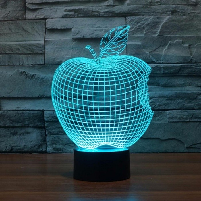 Personality 3D Visual LED Home Lighting Table Lamp Apple Shape Colorful Decorative Night Light Changeable/Clear